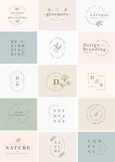 Floral brand and logo designs vector collection Simple brand and logo design ideas Web Design, Brand Design, Brand Identity Design, Fashion Logo Design, Free Company Logo Design, Logo Inspiration, Packaging Design Inspiration, Design Ideas, Business Branding