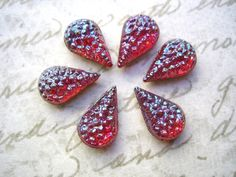 6 vintage glass sugar stones ruby siam red by a2zDesigns on Etsy (Craft Supplies & Tools, Jewelry & Beading Supplies, Cabochons, glass, vintage, stone, red, cab, rhinestone, iridescent, siam, ruby, ab, teardrop, pear, sale)