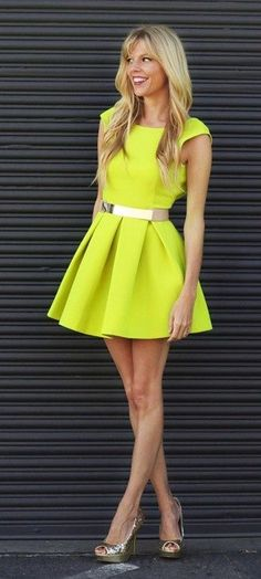 Electric Lime Sleeve Dress With Gold Belt