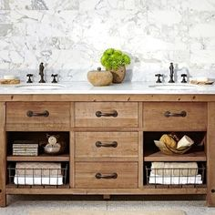 Pottery Barn Benchwright Double Sink Console, Wax Pine Finish - distressed wood