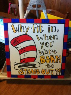 Hand painted 12x12 canvas with Dr. Seuss quote on Etsy, $20.00