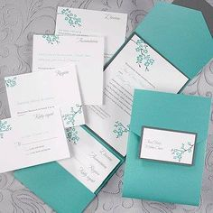 Teal Shimmer Pocket with White Invitation A teal shimmer pocket features a pewter bottom layer and a white invitations. Closed: x 7 Layout is available only as shown for invitation, enclosure cards, accommodation card, direction card and name tab. Silver Wedding Invitations, Wedding Invitation Samples, Wedding Stationary, Pocket Invitation, Invitation Cards, Invitation Ideas, Aqua Wedding, Dream Wedding, Seaside Wedding