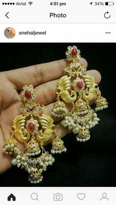 Earrings - Gift for women and girls, wedding South Indian Jewellery, Indian Jewellery Design, Jewelry Design, Fancy Jewellery, India Jewelry, Temple Jewellery, Gold Earrings Designs, Necklace Designs, Jewelry Patterns