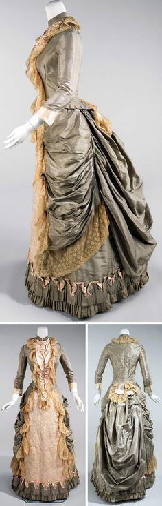 "Silk dress, American, 1880. This is a dress for a 50th wedding anniversary. Metropolitan Museum of Art: ""The style evokes 18th century and would have been appreciated for its beautiful embroidery and lace trim."""