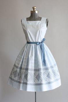 Vintage 1950's Dress Blue & White Check