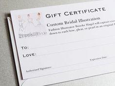 Wedding Gift, Custom Bridal Illustration Gift Certificate by Brooke Hagel. BrooklitBride on Etsy, $350.00