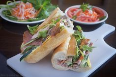 Chinese/Vietnamese Hoagie at Mi Dac Ky: Peking duck, housemade duck liver pate, cucumber, carrots, jalapeños and cilantro on a French baguette.