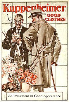 Illustration by J. C. Leyendecker for Kuppenhiemer Clothiers, 1916.