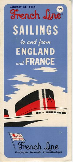 1956 French Line Timetable Ocean Liners Cruise Ship.