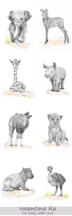 Neutral Nursery Decor, Set of 3 prints, Baby Animals Nursery , Watercolor painting, Safari Wall Art Watercolour Print, New baby Gift, Jungle Set of 3 prints- high quality fine art prints of my original watercolor painting. It is the work of a watercolor series Portraits of the Heart Size