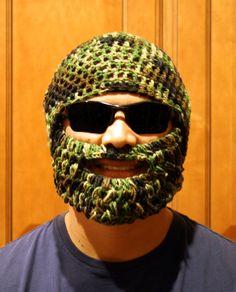 Camo Beard Beanie w/ Detachable Beard Great for by HolyNoggins, $35.00
