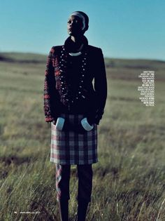 Exotic Plaid Editorials - Marie Claire South Africa 'Highlander' Stars Model Aluad Deng Anei (GALLERY)