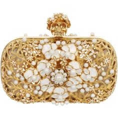 Alexander McQueen Metal Floral & Pearl Skull Box Clutch found on Polyvore