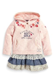 Buy Pink Hooded Sweater Dress (3mths-6yrs) from the Next UK online shop