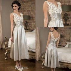 Elegant 1950s Mother of the Bride Dresses Lace Silver Taffeta Pleats Tea Length Groom's Mother Evening Gowns 2016 Plus Size Custom Made