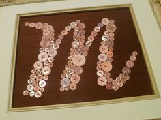 """Button Letter Wall Art for Baby's Nursery -- Pink on Brown Silk -- 8""""x10"""""""