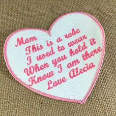 IRON ON Heart Shaped Memory Pillow Patch - Memorial Patch, This is a robe I used to wear, In Memory Of, Shirt Pillow Patch, Memory Patches #memorypatches #birthdaygifts #keepsakepillows