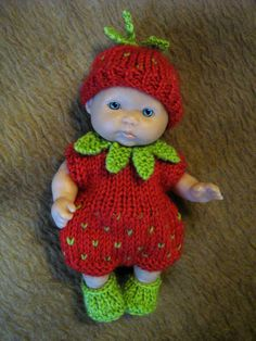 "Strawberry suit for 5"" Berenguer doll"