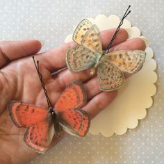 Soft - Handmade Cotton and Silk Organza Lustrous Copper Butterflies Hair Bobby Pins - 2 pieces by TheButterfliesShop on Etsy