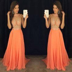 orange prom dress,long prom Dress,cheap Prom Dress,2017 prom dress,beaded prom dress,BD3919