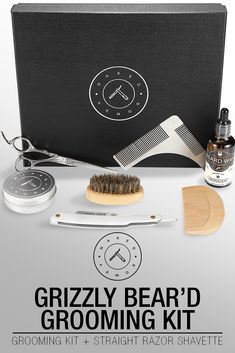 2ddb5ef8d60d Grizzly Bear d Grooming Kit + Straight Razor Shavette