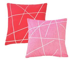 {Bold Red & Pink Geometric Pillow Covers} love the 2 colours together.