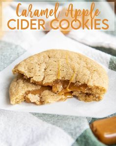 These apple cider cookies are soft and chewy with the flavor of cinnamon, and apple cider in every bite. With a chewy caramel in the middle they're a perfect cookie for fall!