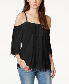 1145ed574c3a5 American Rag Crochet-Trim Cold-Shoulder Top