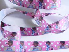 """Doc McStuffins Grosgrain Ribbon 5 yards of 7/8"""" Disney Print Pink & White Polka Dots Girls Hair Bow Doc McStuffins Birthday Party Favor Ties by HouseofHairDecor on Etsy"""