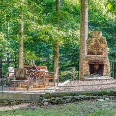"""""""Yup, we'll be dreaming of this outdoor #fireplace tonight. ( by @shelterandroost)"""""""