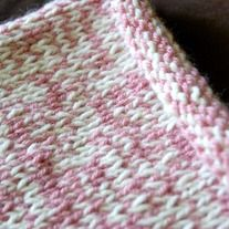 Handknit Baby Blanket in Pink/Cream