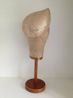 Gold sequinned tear shaped headpiece by Murley & Co Millinery #HatAcademy #millinery