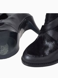 Shop Black Heeled Ankle Boots with Pony-effect Panel from choies.com .Free shipping Worldwide.$109.9