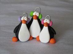 Polymer Clay Penguin Trio