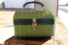 Vintage 1960's Green Wicker Purse