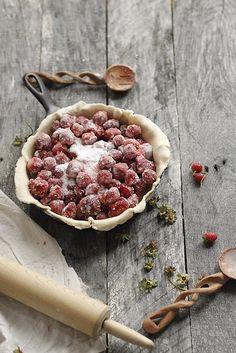Strawberry skillet pie.
