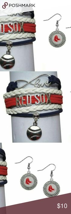 Red Sox Bracelet Jewelry Set Red Sox Jewelry- New Red Sox Bracelet & Earrings - Baseball Jewelry  WHO LOVES BASEBALL?! Show your Pride for the Boston Red Sox with this baseball bracelet & earrings.  This listing is for one Boston Red Sox charm bracelet & earring. Absolutely adorable, you'll be in a hurry to show it off to your friends and family!  Perfect Gift for Red Sox Baseball Fans!!! Jewelry