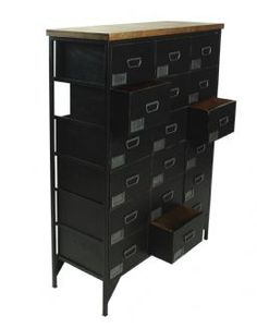 Loft Rustic Re-Engineered Black Painted Eighteen Drawer Apothecary Chest