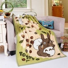 "Double Layer Totoro Soft Comfy Anime Plush Blanket Throw Sofa Quilt 55""*40"" Gift"