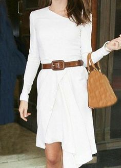 cute white dress accessoried with brown