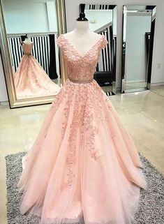 V Neck Cap Sleeves Peach Lace A-line Long Evening Prom Dresses, Cheap Sweet 16 Dresses, 18446 - Wedding Gowns Platform Blush Pink Prom Dresses, V Neck Prom Dresses, Grad Dresses, Evening Dresses, Formal Dresses, Blush Prom, Dress Prom, Pink Tulle, Tulle Lace