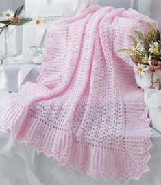 Crochet a Lacy Afghan for Baby with these 7 Keepsake Baby Afghan Crochet Patterns Baby Afghan Crochet Patterns, Baby Blanket Crochet, Baby Patterns, Crochet Baby, Afghan Blanket, Crochet Afghans, Crochet Edgings, Chevron Blanket, Crochet Borders