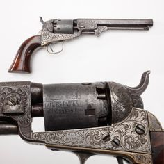 "Colt M1849 Pocket Revolver - Working with a collection containing thousands of great guns allows us to sometimes focus on the ""little things."" This engraved Colt percussion revolver has a hand-cut barrel address, but even more interesting is the small ""2"" next to the serial number. Once upon a time this .31 caliber handgun was part of a two-gun set. Wish we knew whatever happened to the counterpart of this percussion Colt."