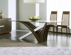 Get inspired by Modern Dining Room Design photo by Wayfair. Wayfair lets you find the designer products in the photo and get ideas from thousands of other Modern Dining Room Design photos. Simple Dining Table, Glass Top Dining Table, Wooden Dining Tables, Dining Table Design, Dining Room Sets, Dining Table In Kitchen, Dining Room Furniture, Furniture Design, Furniture Ideas
