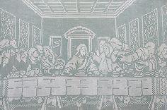 crochet Dutch doily | Large Last Supper Jesus Crochet : 20th Century Vintage Industrial ...
