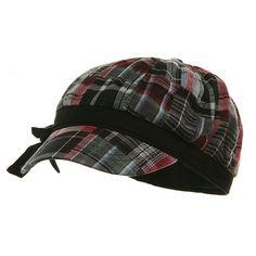Twill Plaid Newsboy Cap - Black Red