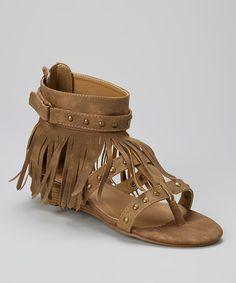 Taupe Studded Fringe Nani Sandal by Bucco #zulily #zulilyfinds