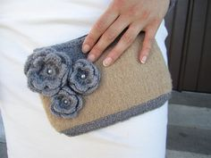 Knitted and felted clutch with 3D flower accent Grey by protsenka, $85.00
