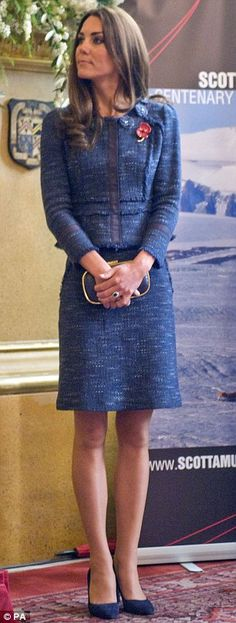 Kate wore an indigo tweed Rebecca Taylor suit for her visit to Goldsmiths' Hall on April 26, 2012.
