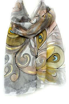 *** Please find also my other Hand Painted Silk Scarves, Long and Square, all very beautiful*** http://www.teresamare.etsy.com Silk Scarves, Ladies Silk Shawls, Hand Painted Scarves, Handmade Silk Scarves. Wedding, Bridesmaids Gifts. Anniversary Gifts. Women Birthday Presents.